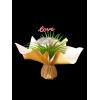 """Bouquet bulle 7 tiges prêt à remplir -  Kraft neutre / crème + pick """"LOVE"""""""