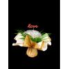 """Bouquet bulle 11 tiges prêt à remplir -  Kraft neutre / crème + pick """"LOVE"""""""