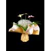 """Bouquet bulle 11 tiges prêt à remplir -  Kraft neutre / crème + pick """"PAPILLON"""""""