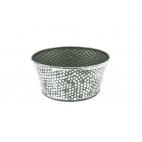"""Coupe ronde métal gris/blanc - Décor """"pois"""""""