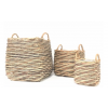 NOUVEAUTÉ: Set de 3 cache-pots carrés avec anses en vannerie
