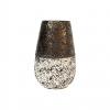 """Vase en céramique - Décor """"Granit"""" - blanc / or - PM"""