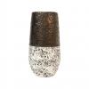 """Vase en céramique - Décor """"Granit"""" - blanc / or - GM"""