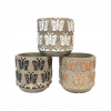 "Cache pot rond - collection ""Papillon""- Mix 3 couleurs - GM"