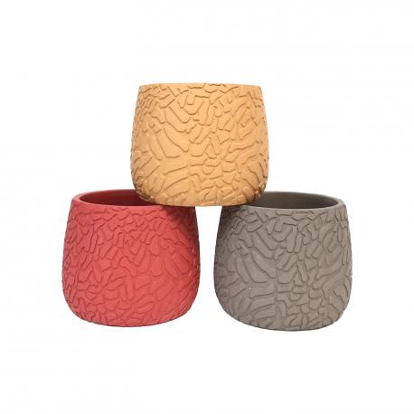 """Cache-pot rond - Collection """"Craquelé"""" - Mix 3 couleurs - GM"""
